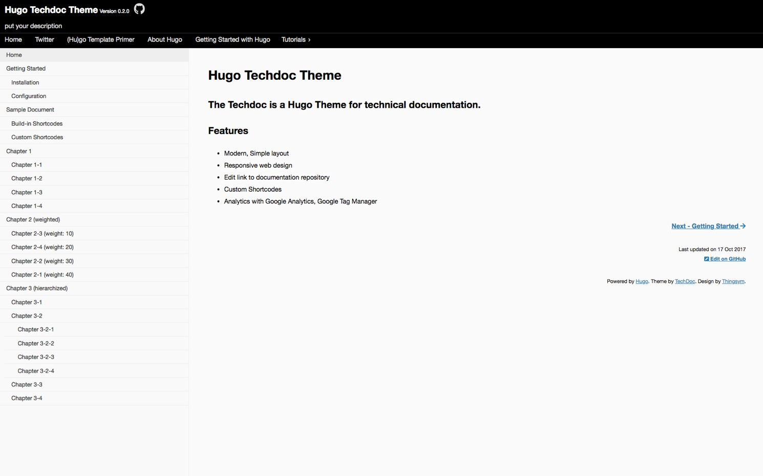 A Hugo Theme for technical documentation