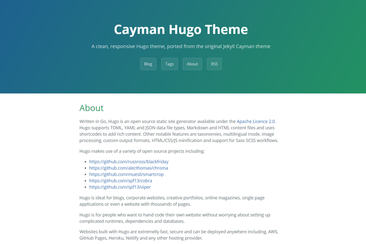 A clean and responsive theme for Hugo