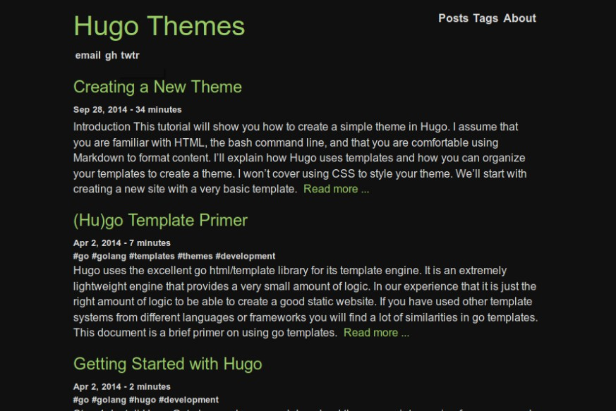 Simple and minimalistic dark theme for Hugo