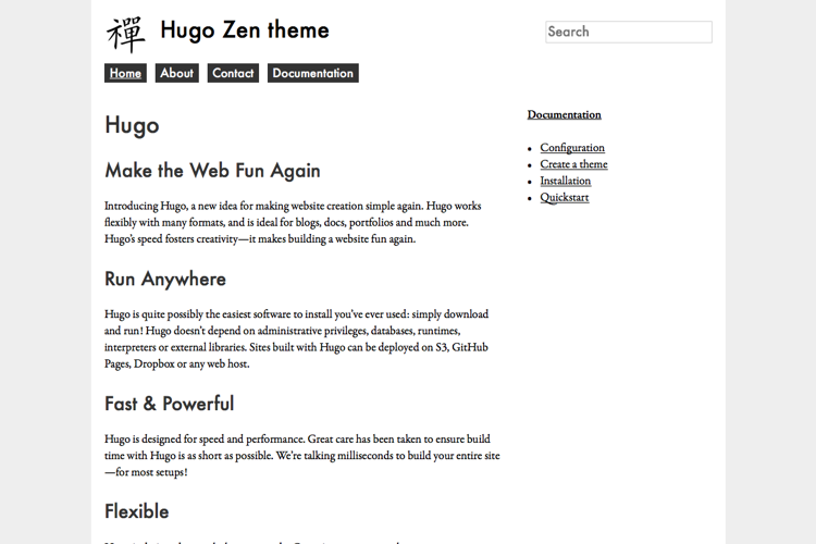 A port of the Drupal zen base theme with css-grid and Hugo pipes support