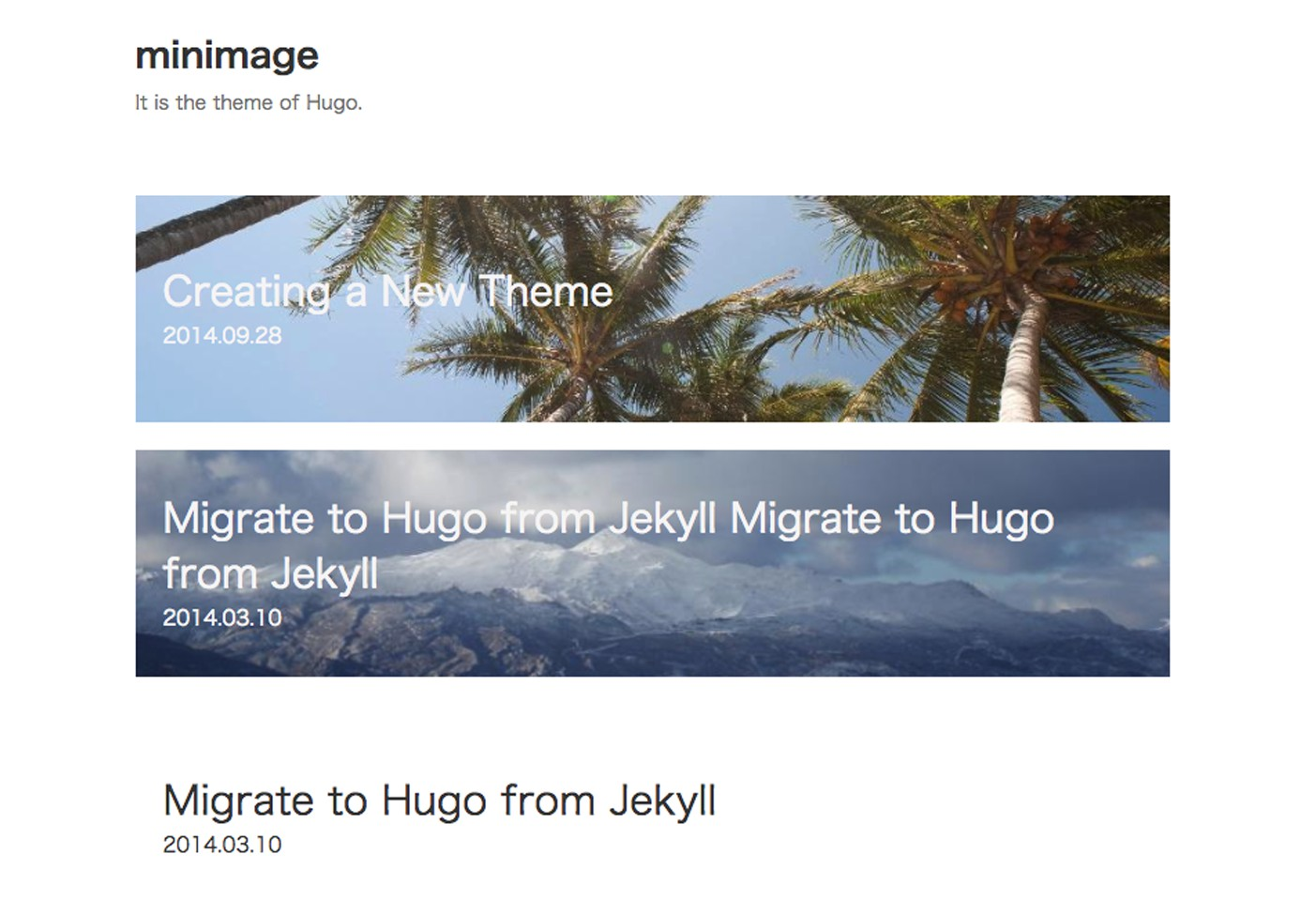 Minimage Hugo theme