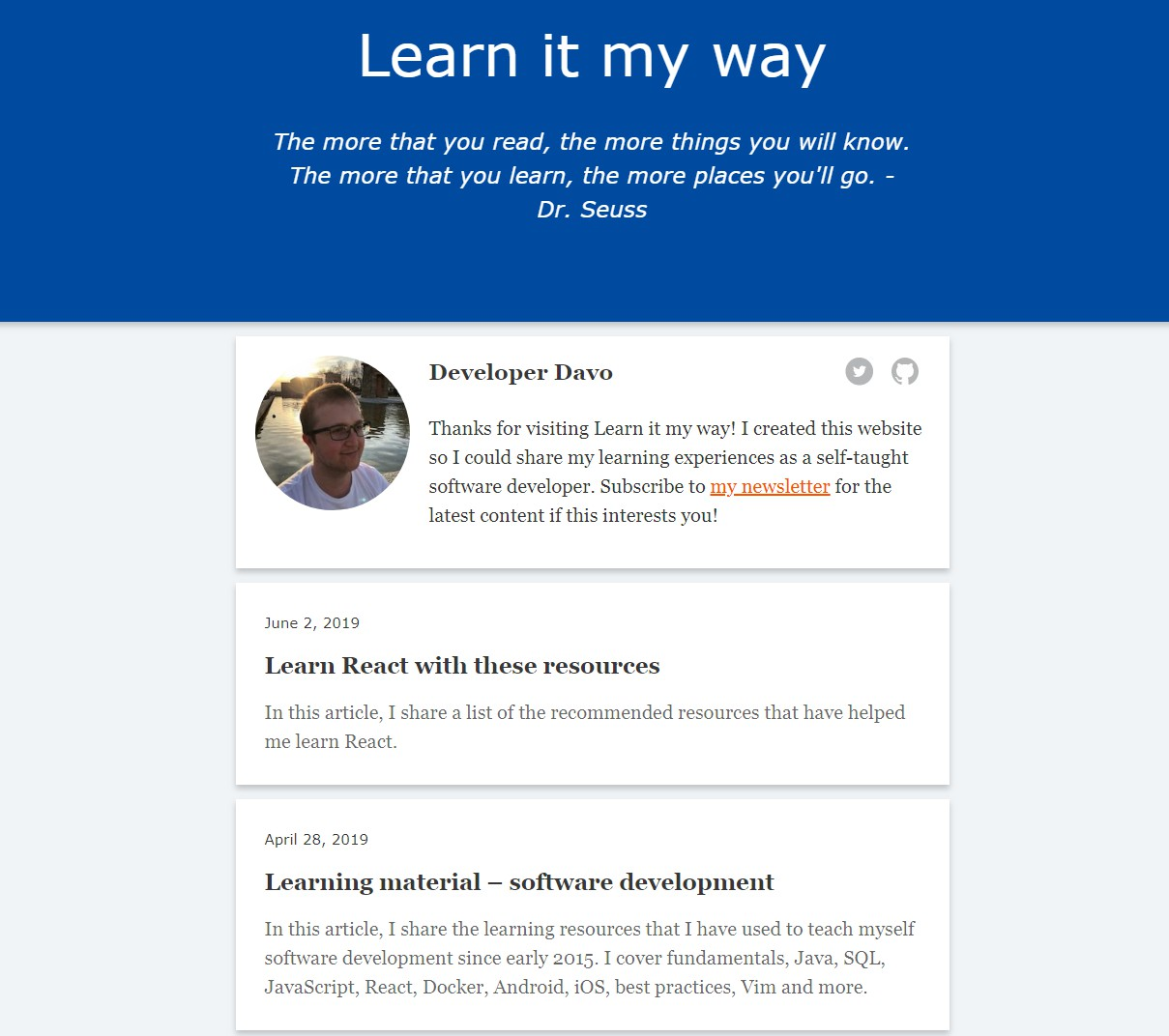 learnitmyway blog with hugo