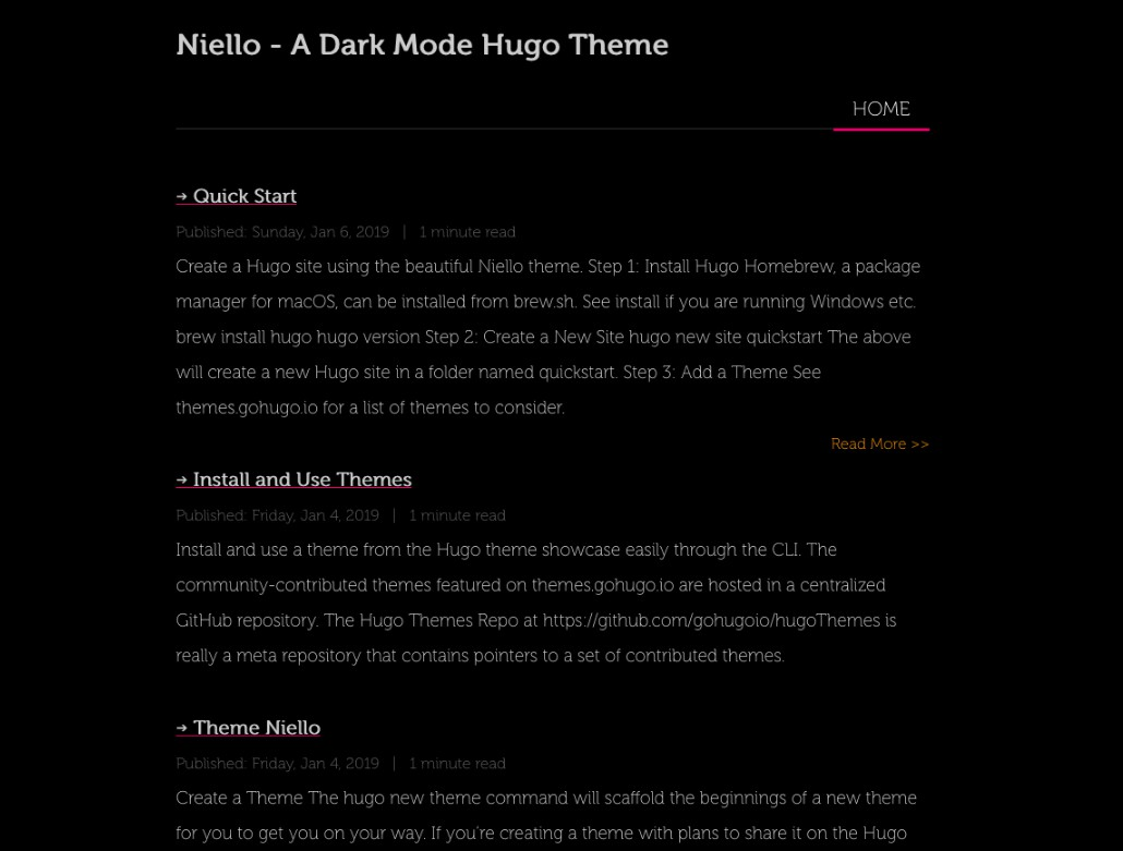 A simple and clean dark mode Theme for Hugo