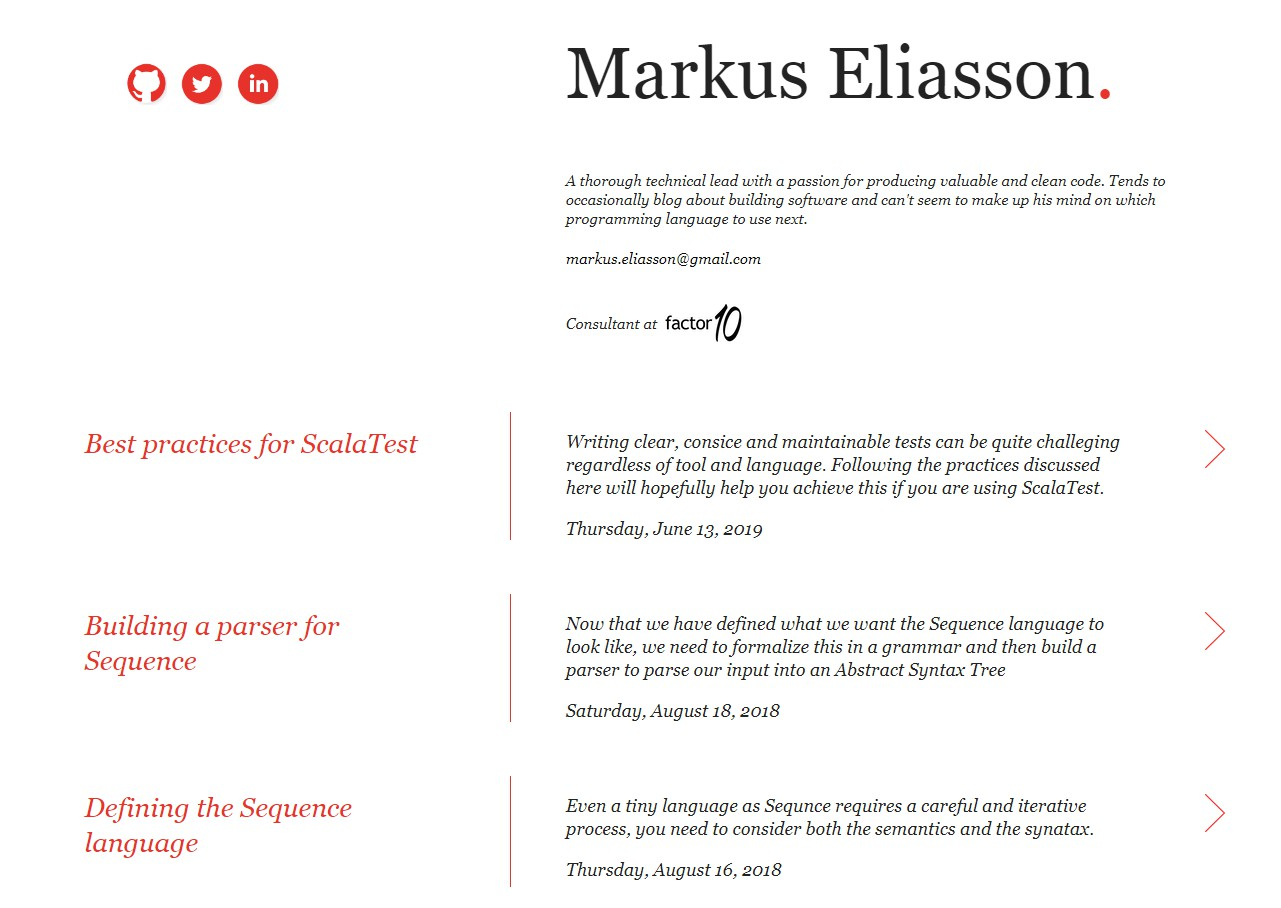 Site and blog for Markus Eliasson powered by Hugo