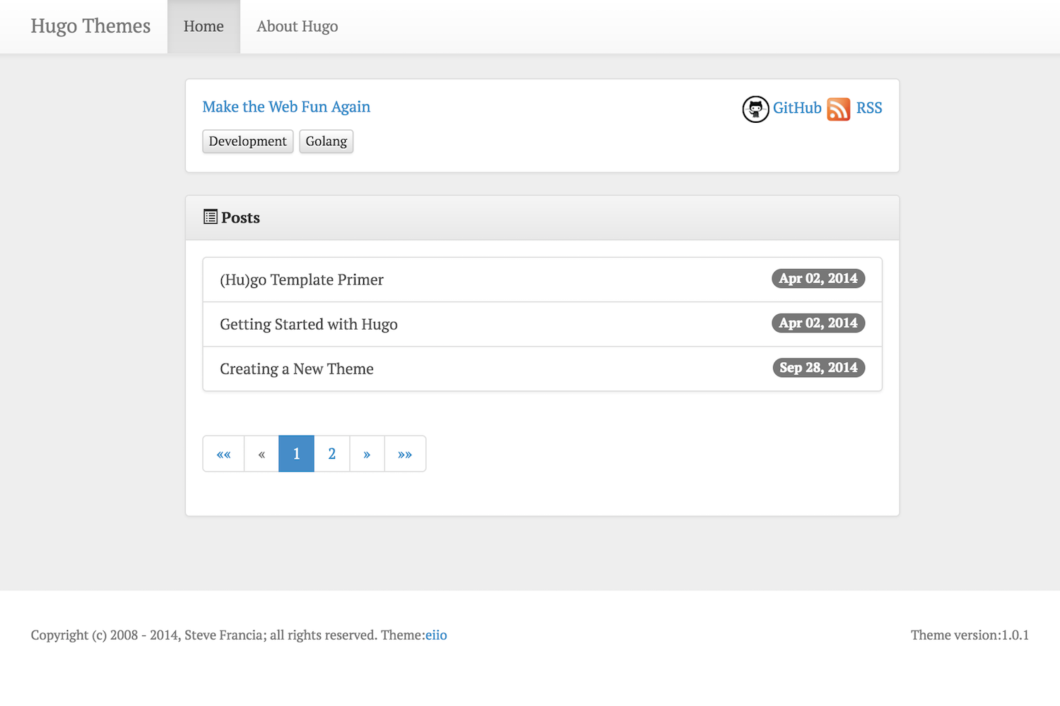 hugo eiio Blog Theme