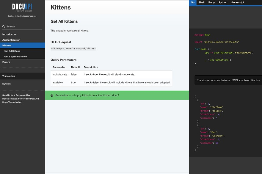 Beautiful multilingual API documentation theme for Hugo