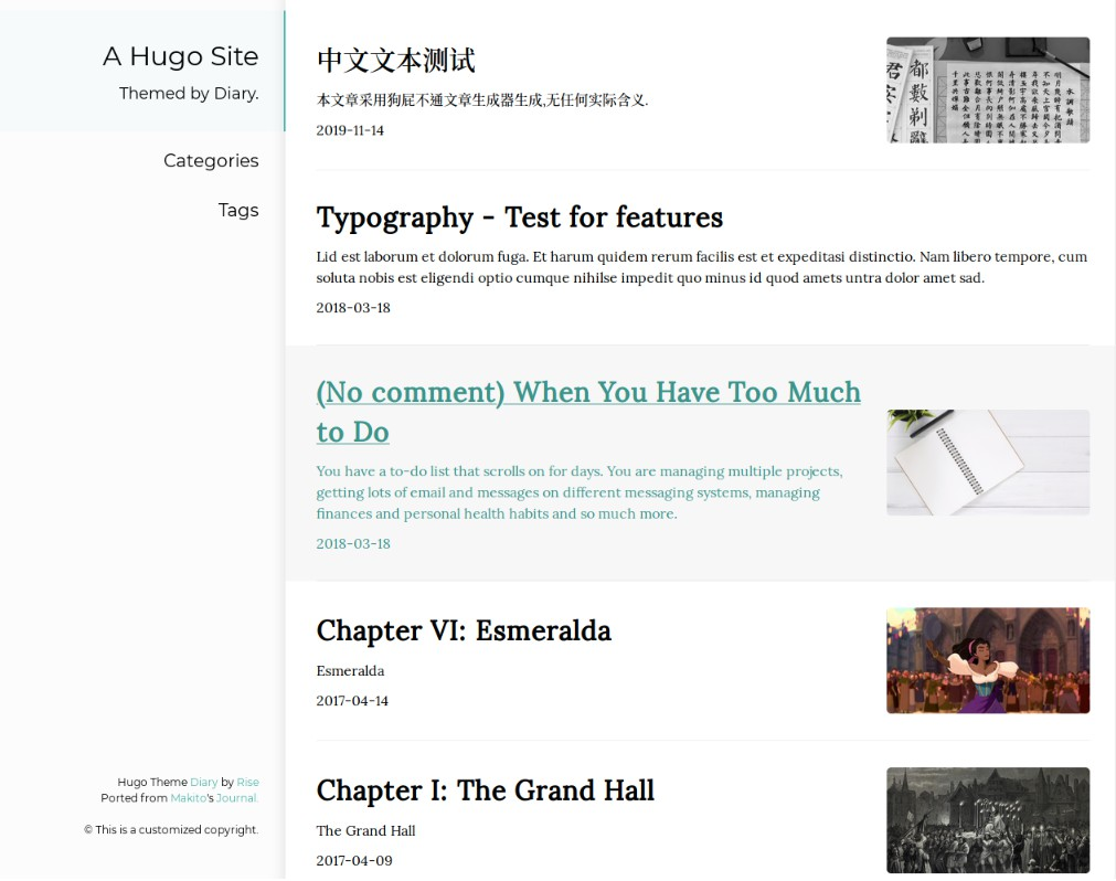 A Hugo theme ported from SumiMakito/hexo-theme-Journal